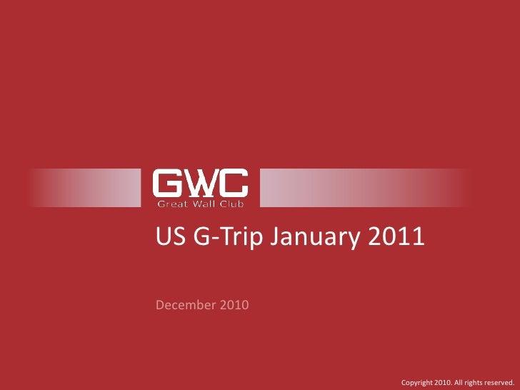US G-Trip January 2011<br />December 2010<br />