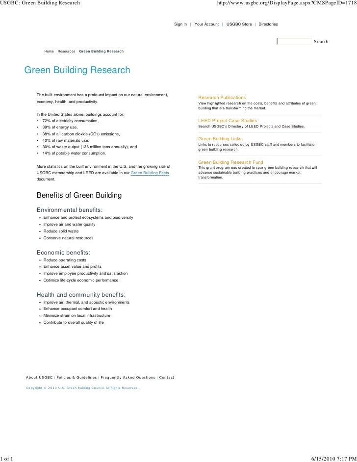 USGBC  Green Building Research