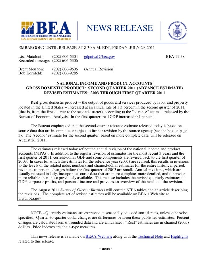 NEWS RELEASEEMBARGOED UNTIL RELEASE AT 8:30 A.M. EDT, FRIDAY, JULY 29, 2011Lisa Mataloni:    (202) 606-5304         gdpniw...