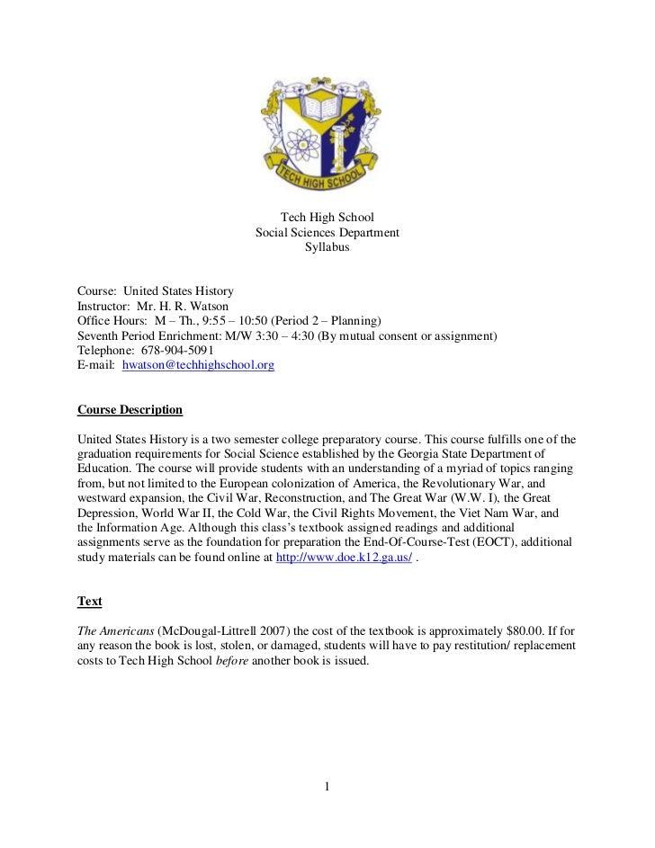 Tech High School                                   Social Sciences Department                                            S...