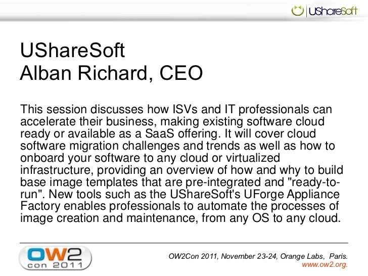 UShareSoft Software onboarding to cloud, OW2con11, Nov 24-25, Paris