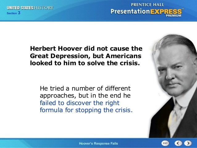 Why did president hoover's response to the great depression fail