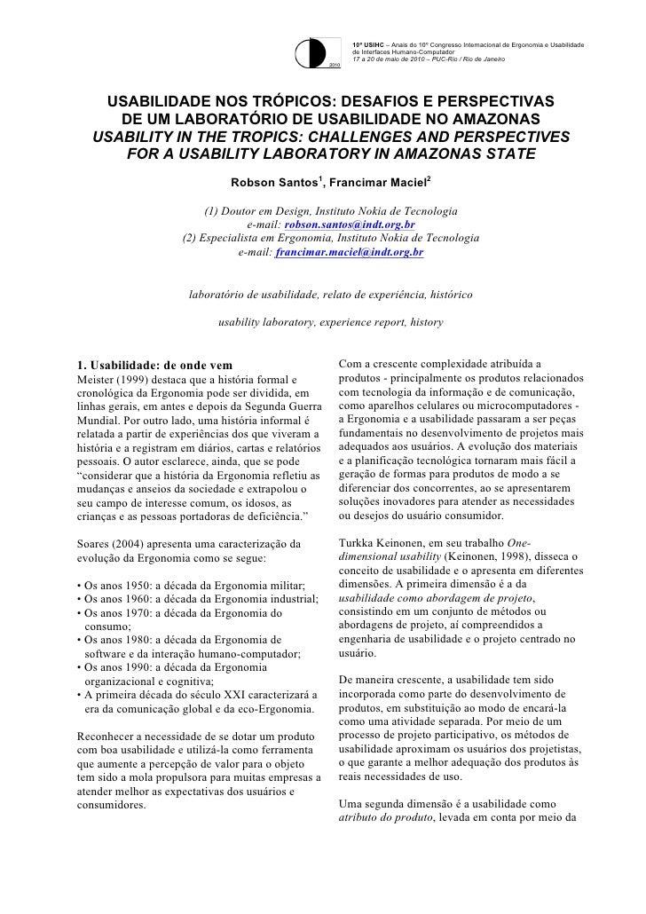 Usabilidade nos trópicos. Desafios e perspectivas de um laboratório de usabilidade no Amazonas.