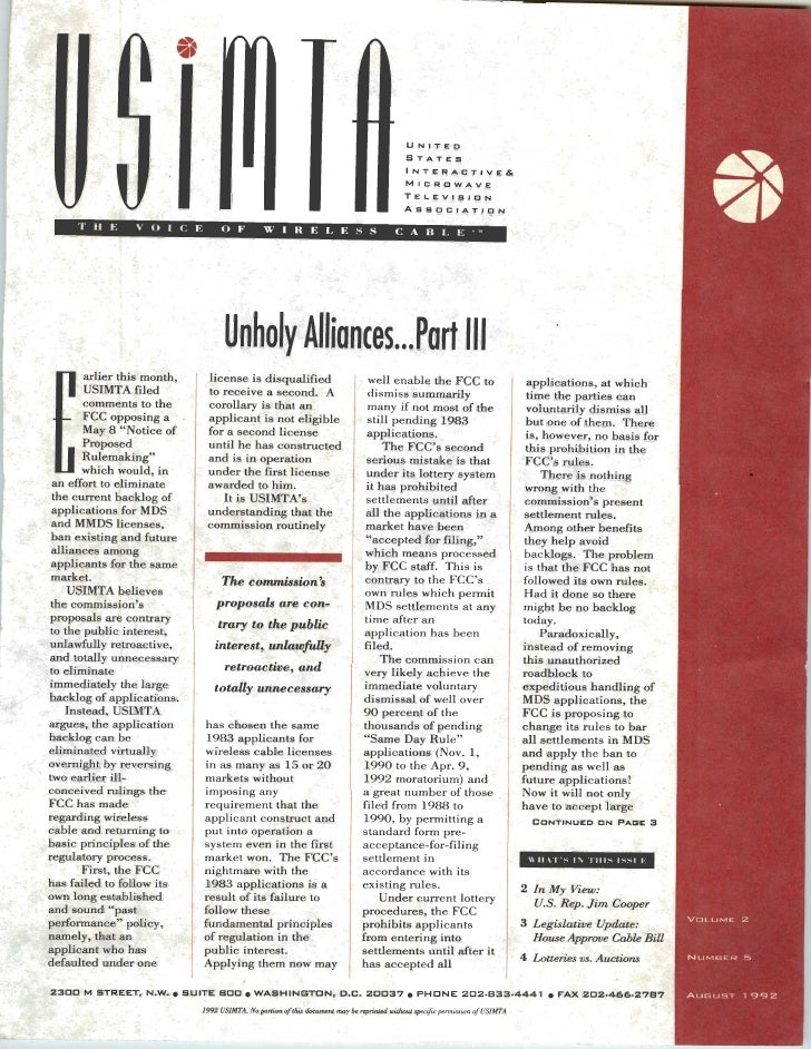 USIMTA NEWSLETTER SUMMER 1992