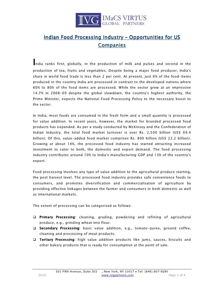 US India food processing opportunities