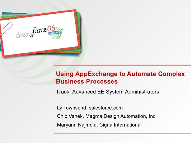 Using AppExchange to Automate Complex Business Processes Ly Townsend, salesforce.com Chip Vanek, Magma Design Automation, ...