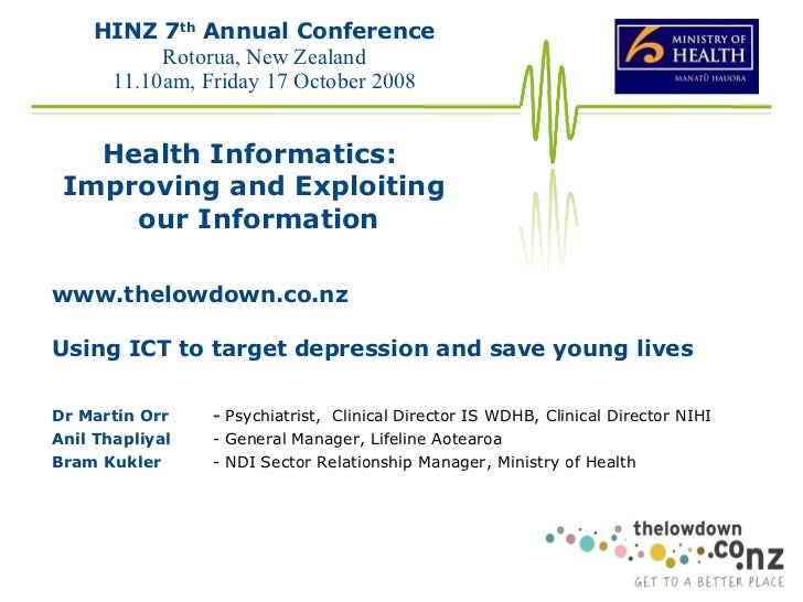 www.thelowdown.co.nz Using ICT to target depression and save young lives Dr Martin Orr -  Psychiatrist,  Clinical Director...