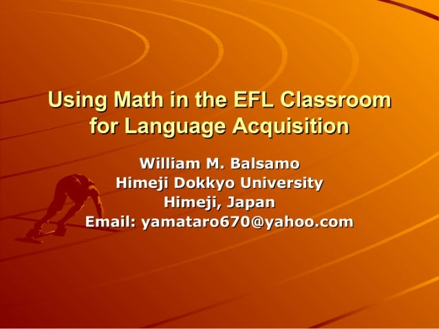Using Math In The Efl Classroom For Language