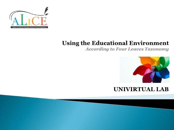 Using the Educational Environment       According to Four Leaves Taxonomy                  UNIVIRTUAL LAB