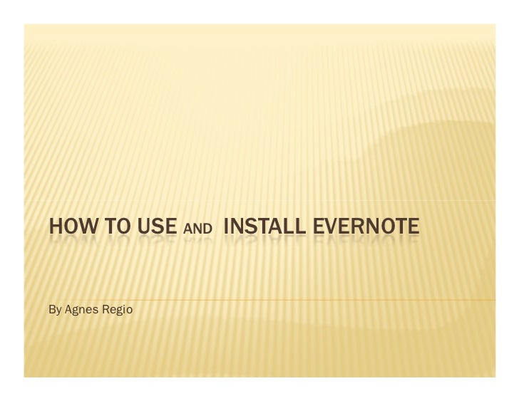 Using and installing evernote