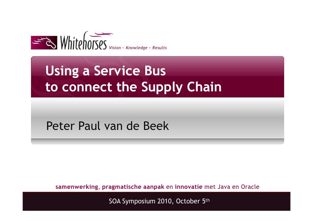 Vision ~ Knowledge ~ Results     Using a Service Bus to connect the Supply Chain  Peter Paul van de Beek     samenwerking,...