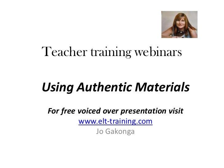 Using authentic materials in ELT