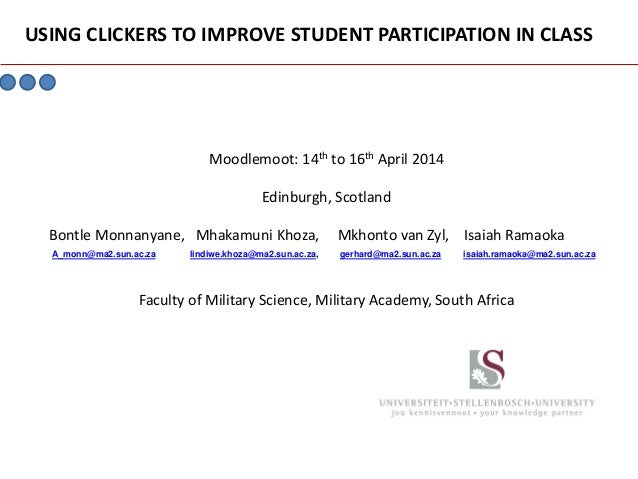Using clickers to improve student participation in class