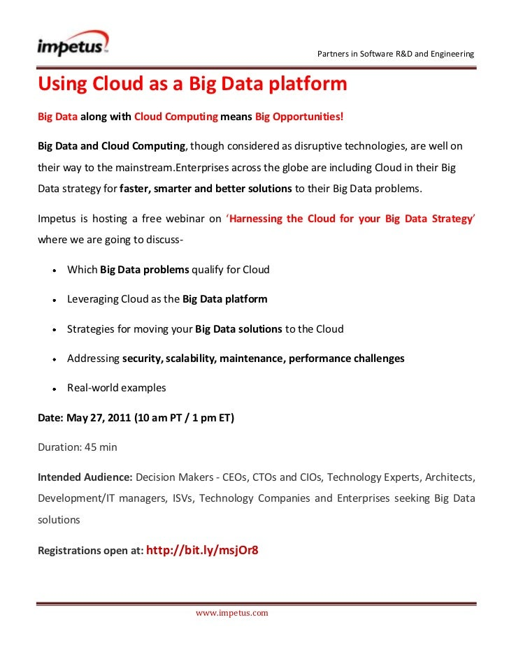 Using Cloud as a Big Data Platform