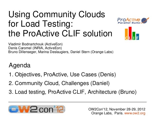 Using Community Clouds for Load Testing- the ProActive CLIF solution, OW2con'12, Paris