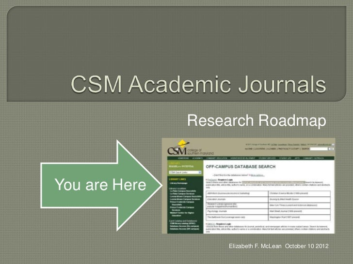 Research RoadmapYou are Here                   Elizabeth F. McLean October 10 2012
