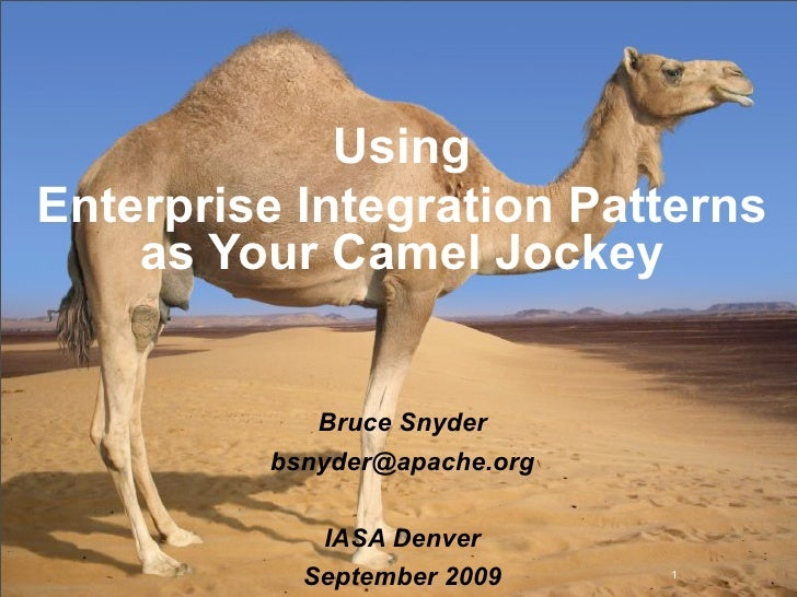 Using Enterprise Integration Patterns     as Your Camel Jockey               Bruce Snyder          bsnyder@apache.org     ...