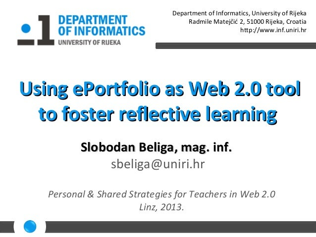 Using ePortfolio as Web 2.0 tool to foster reflective learning