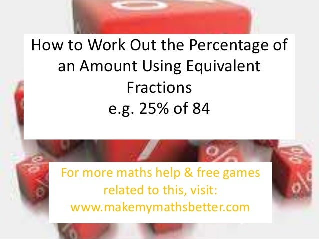 How to Work Out the Percentage of an Amount Using Equivalent Fractions e.g. 25% of 84  For more maths help & free games re...