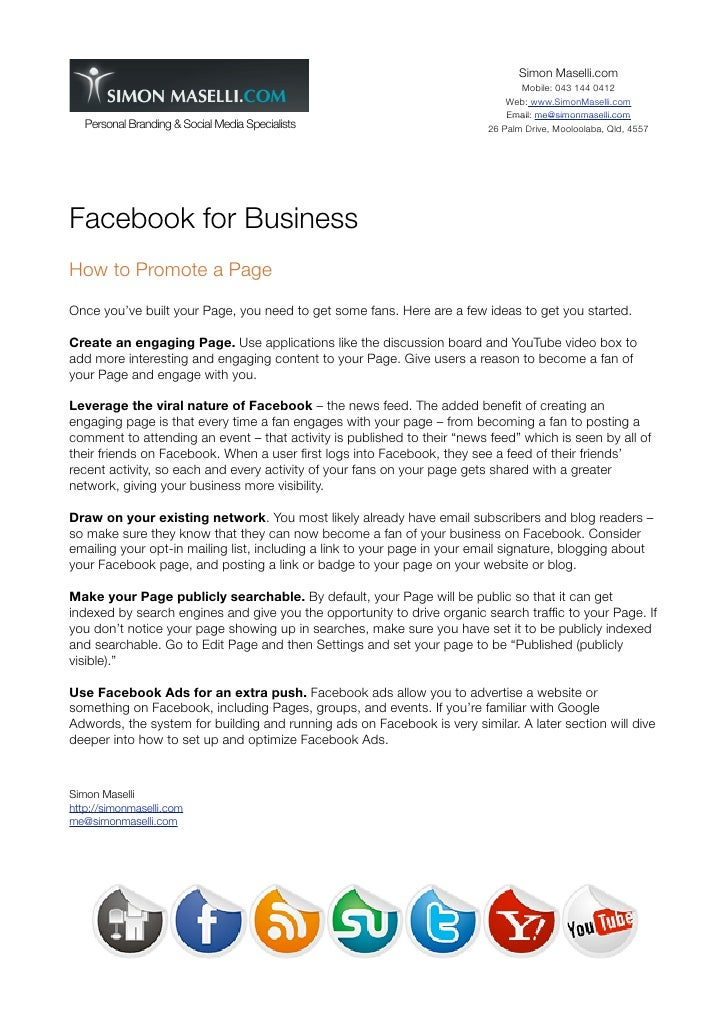 Using facebook pages for business
