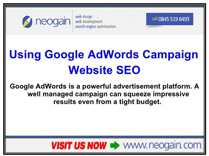 <ul><li>Using Google AdWords Campaign Results to Improve your  </li></ul><ul><li>Website SEO </li></ul><ul><li>Google AdWo...