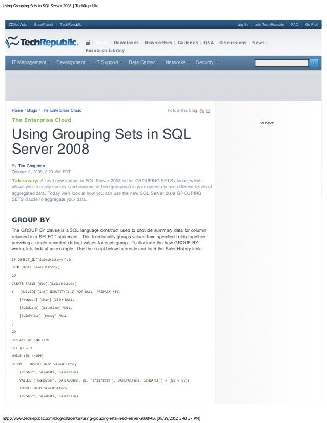 Using grouping sets in sql server 2008   tech republic
