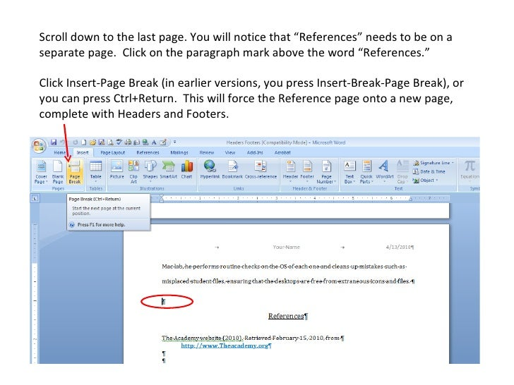Page Break Icon Click Insert-page Break in