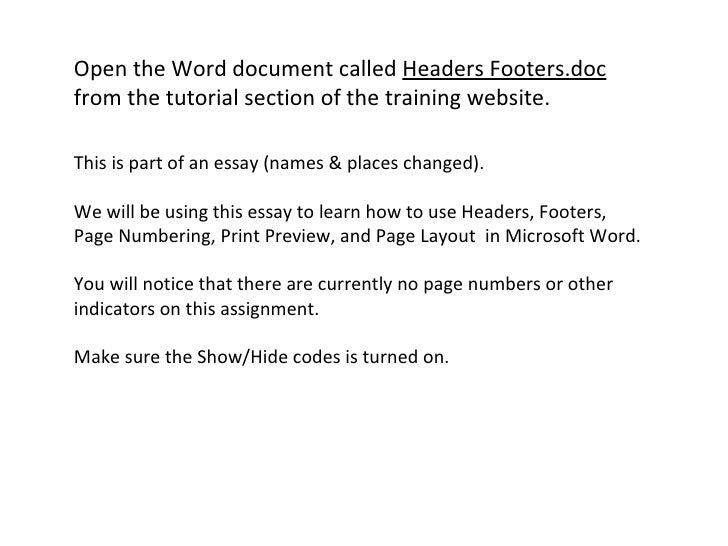 essay headers and footers