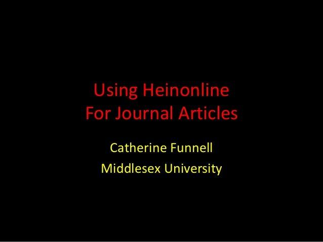 Using heinonline