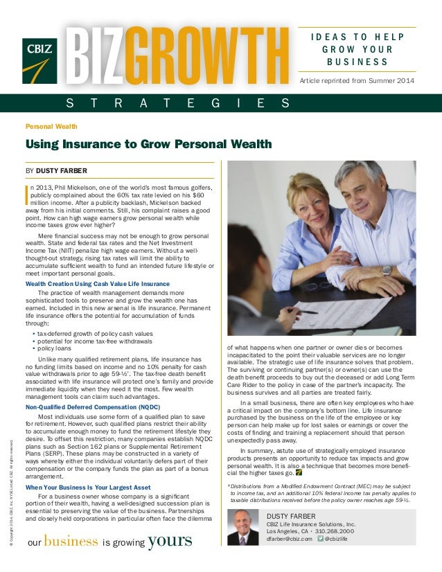 Using Insurance to Grow Personal Wealth