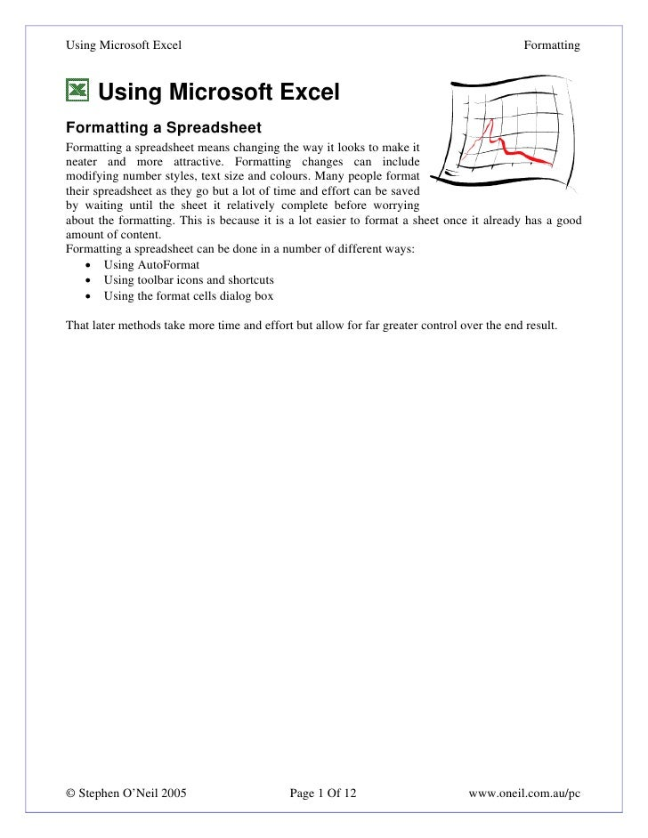 Using Microsoft Excel3 Formatting