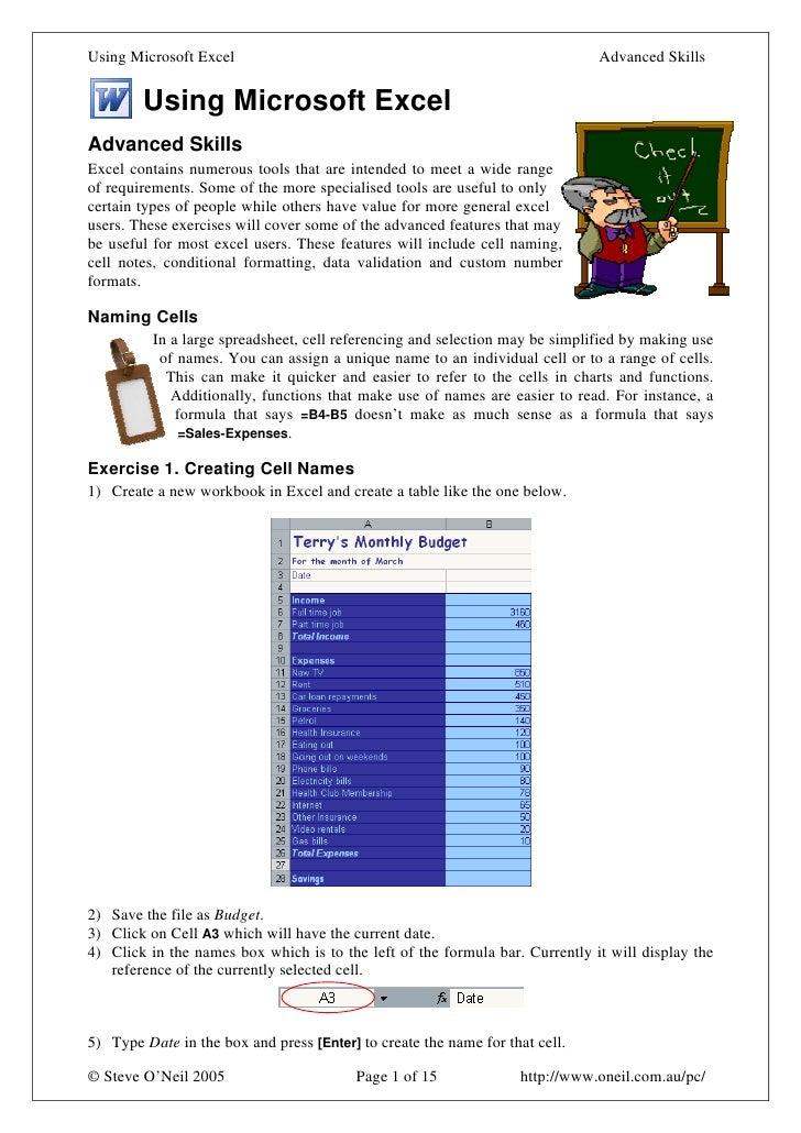 Using Microsoft Excel7 Advanced
