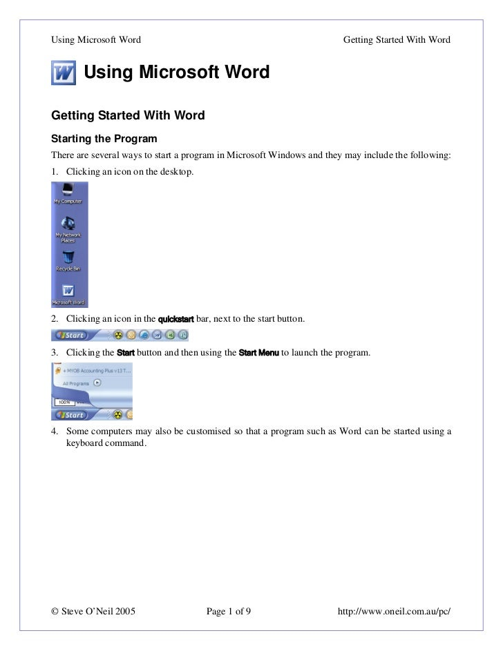 Using Microsoft Word                                                      Getting Started With Word        Using Microsoft...