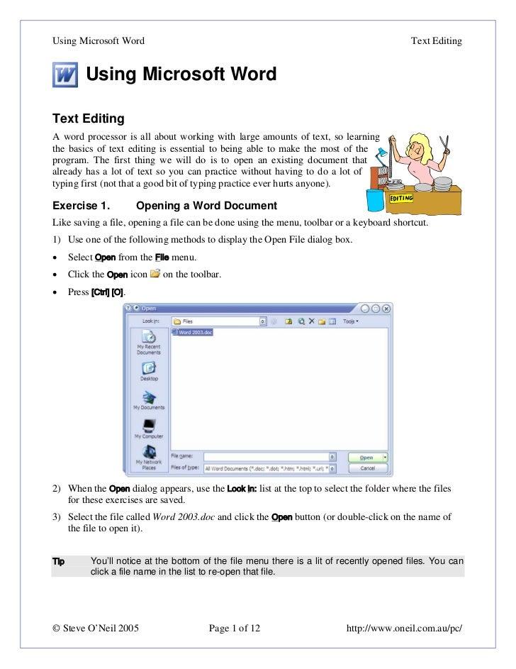 Using Microsoft Word                                                                        Text Editing           Using M...