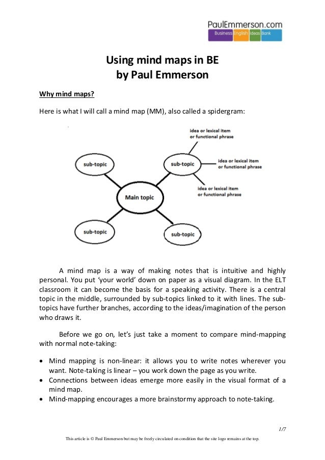 Using mind maps in BE by Paul Emmerson Why mind maps? Here is what I will call a mind map (MM), also called a spidergram: ...