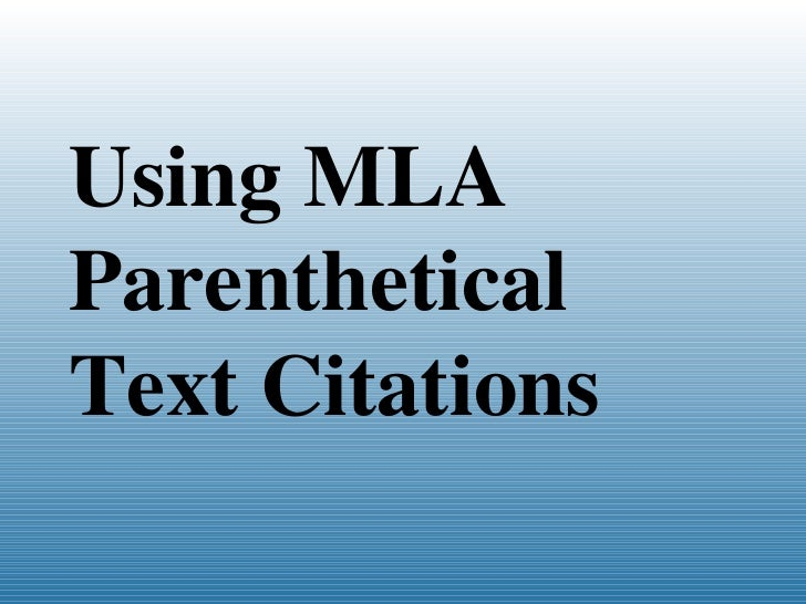 Using MLA Citations