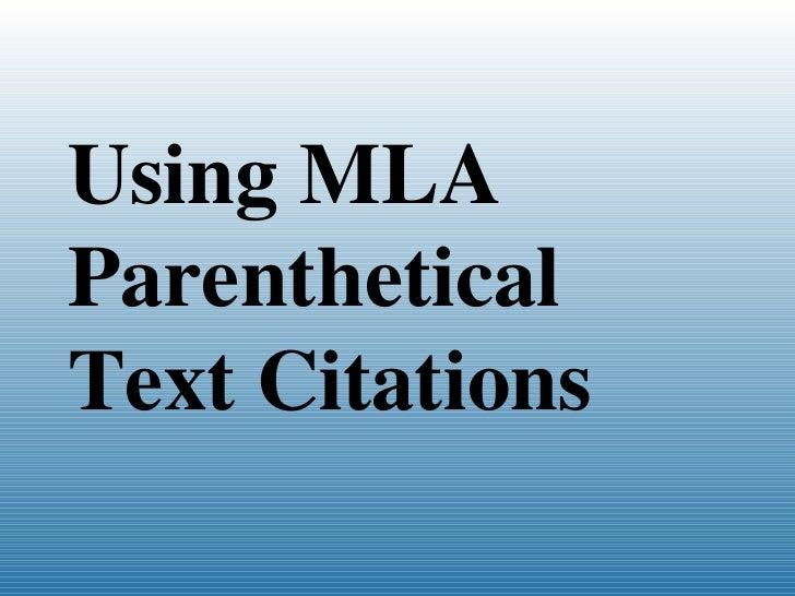 Using MLA Citations