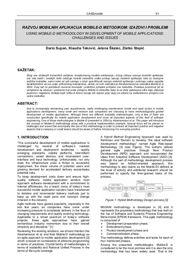 Using Mobile-D methodology in development of mobile applications: Challenges and issues