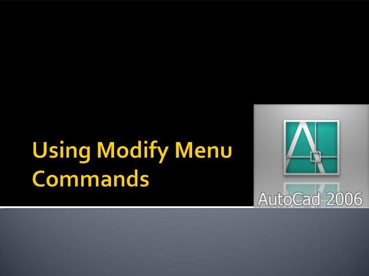 AutoCAD - Using modify commands