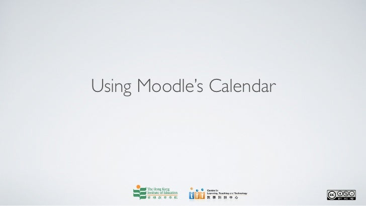 Using moodle's calendar