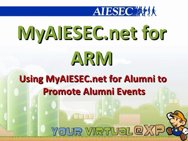 MyAIESEC.net for ARM Using MyAIESEC.net for Alumni to  Promote Alumni Events