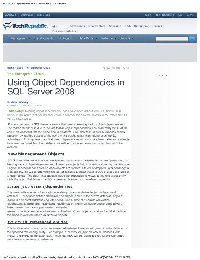 Using object dependencies in sql server 2008   tech republic