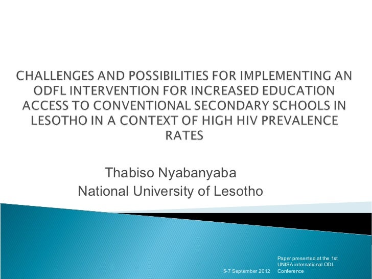Thabiso NyabanyabaNational University of Lesotho                                            Paper presented at the 1st    ...
