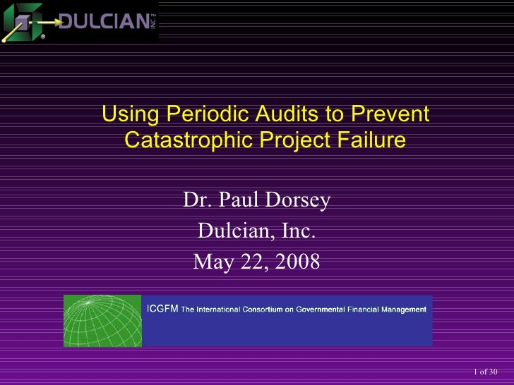 Dr. Paul Dorsey Dulcian, Inc. May 22, 2008 Using Periodic Audits to Prevent Catastrophic Project Failure