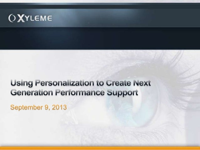 Using personalization to create next generation performance support
