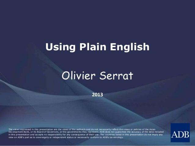 Using Plain English