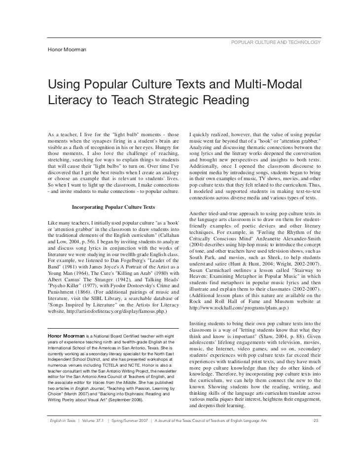 POPULAR CULTURE AND TECHNOLOGYHonor MoormanUsing Popular Culture Texts and Multi-ModalLiteracy to Teach Strategic ReadingA...