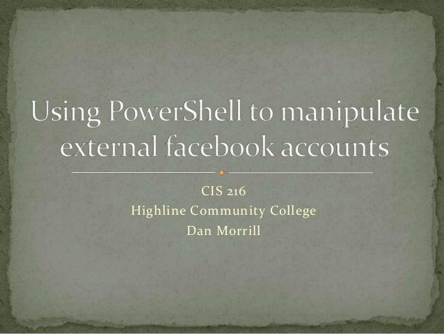 CIS 216Highline Community CollegeDan Morrill