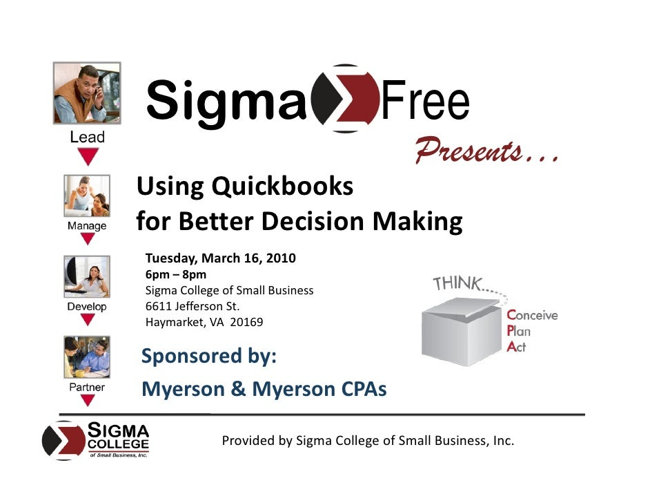 Sigma                                   Free                                               Presents… Using Quickbooks for ...