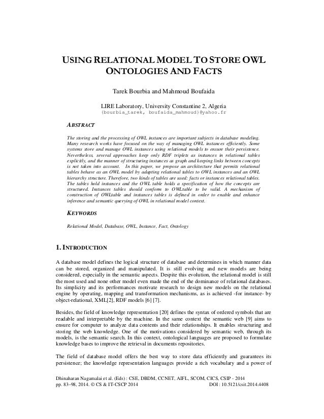 USING RELATIONAL MODEL TO STORE OWL ONTOLOGIES AND FACTS